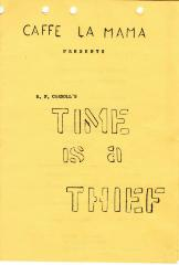 """Program cover for """"Time is a Thief"""" (1963) (front)"""