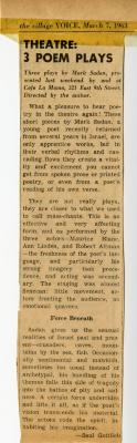 """Voice Review of """"Three Poem Plays,"""" Front"""