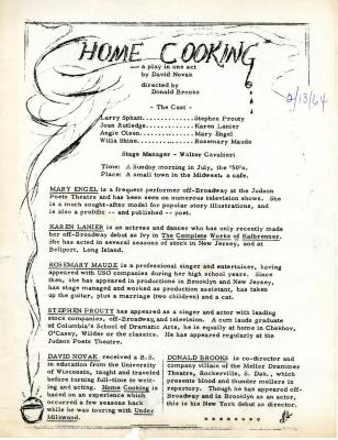 """Program for """"Home Cooking"""" (1964)"""