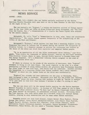 Press Releases: American Indian Press Assocation
