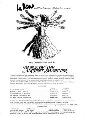 """Program for """"Dance of the Ancient Mariner"""" (1973)"""