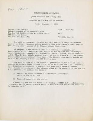 Invitation: Theatre Library Association Cocktail Party (1970)