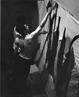 Photographs: Men Painting a Backdrop at 122 Second Ave