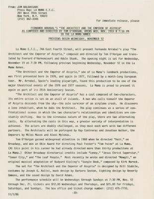 """Press Release: """"The Architect and the Emperor of Assyria"""" (1986)"""