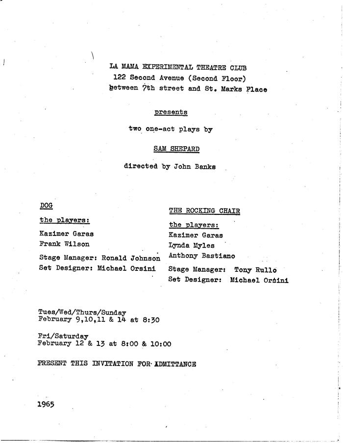 """Invitation: """"Two One-Act Plays by Sam Shepard"""" (1965)"""