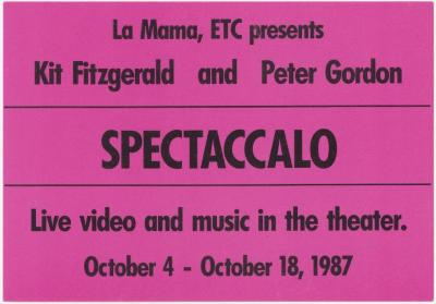 """Promotional Postcard: """"Spectaccalo"""" (1987) (r)"""