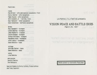 """Show File: """"Vision Peace and Battle Cries"""" (1987)"""
