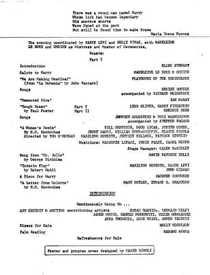 """Program for """"For The Benefit of Harry"""" (1974)"""