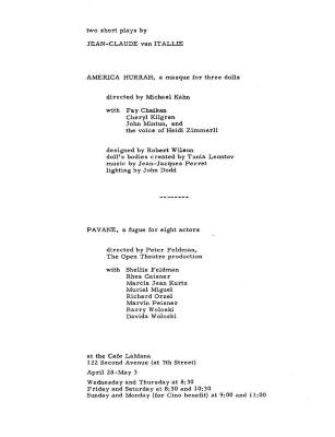 """Program for """"Two Short Plays by Jean-Claude van Itallie"""" (1965)"""