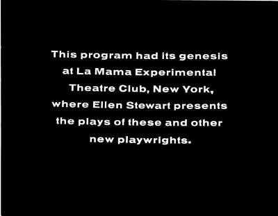 """Title Cards: """"La MaMa Playwrights on NET Playhouse"""" (1965)"""