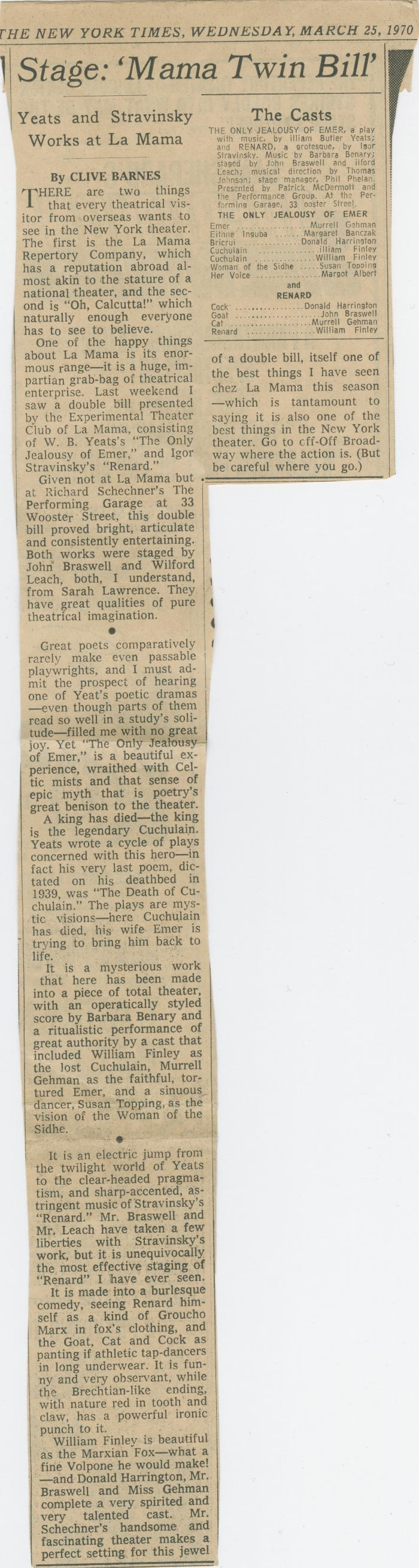"""Review: """"Renard"""" and """"The Only Jealousy of Emer"""" (1970b)"""