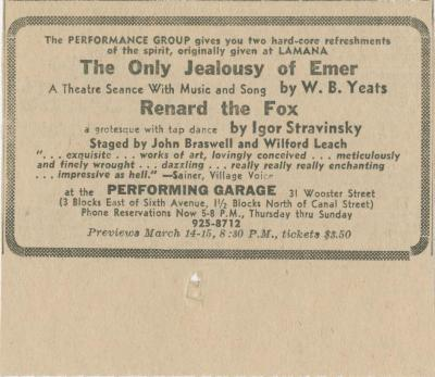 """Advertisement: """"Renard"""" and """"The Only Jealousy of Emer"""" (1970b)"""