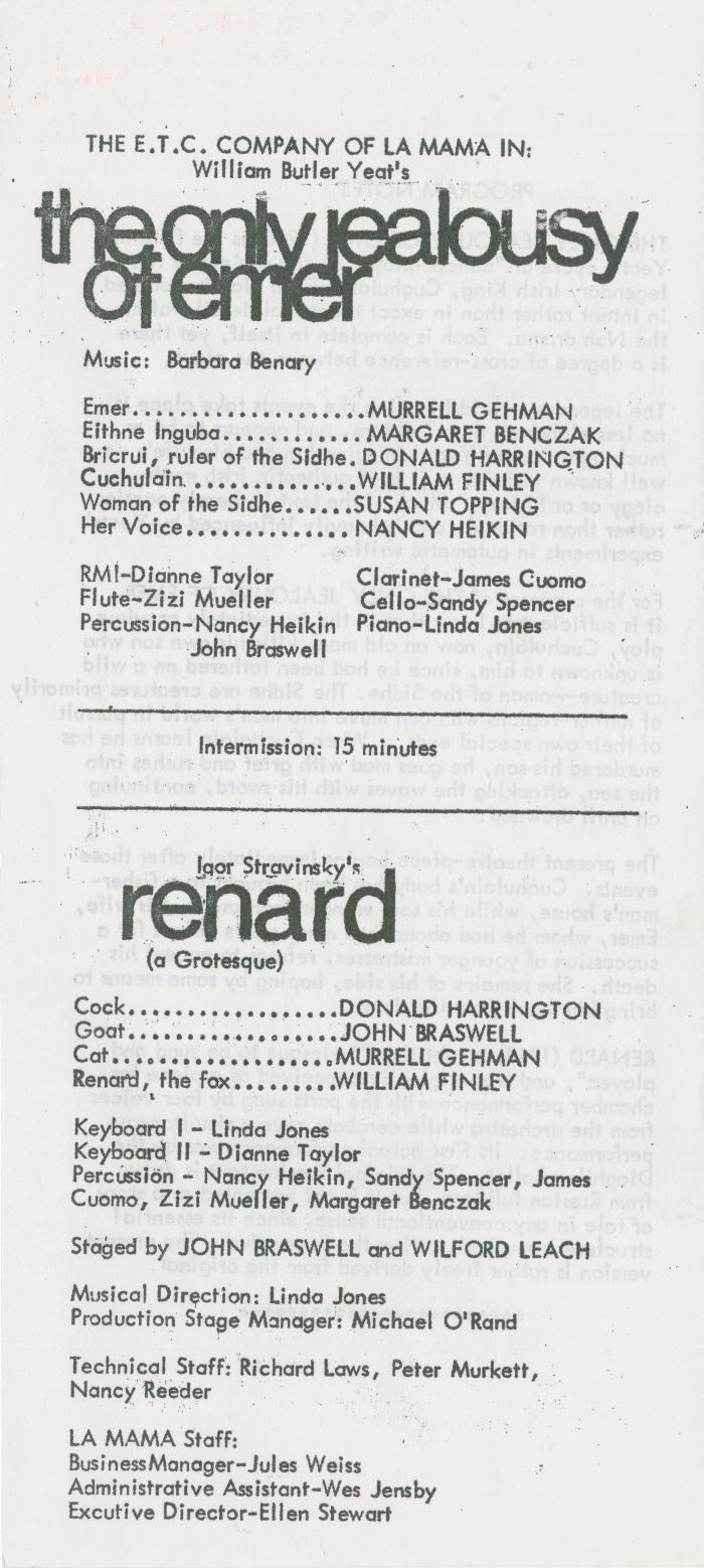 """Program: """"The Only Jealousy of Emer"""" and """"Renard"""" at Harvard (1970)"""