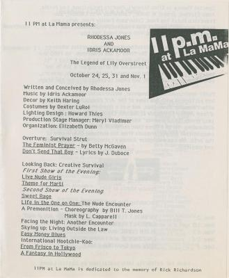 """Program: """"The Legend of Lily Overstreet"""" (1986)"""