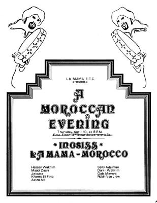 """Promotional Flyer: """"A Moroccan Evening"""" (1975)"""