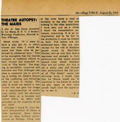 """Review of """"The Maids"""" (1965)"""