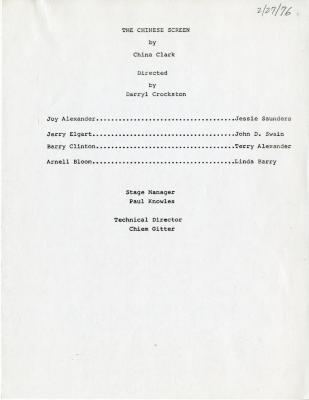 """Program for """"The Chinese Screen"""" (1976)"""