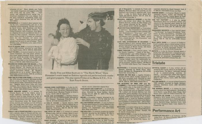 """Press Clippings: """"The North Wind"""" (1986)"""