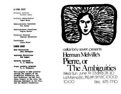 """Program and flyer: """"Herman Melville's 'Pierre, or The Ambiguities'"""" (1974)"""