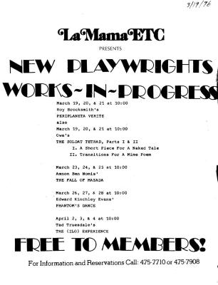 """Promotional Flyer: """"New Playwrights Works-In-Progress"""" (1976)"""