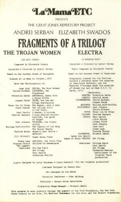 """Program: """"Fragments Of A Trilogy: 'The Trojan Women' and 'Electra'"""" (1975/76)"""