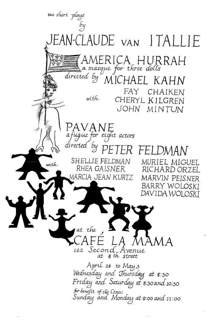 """Flyer / small poster for """"Two Short Plays by Jean-Claude van Itallie"""" (1965)"""