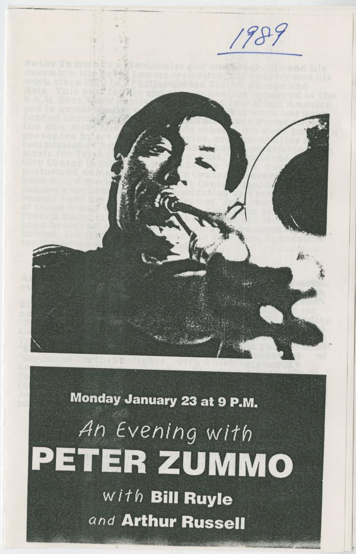 "Program: ""An Evening with Peter Zummo with Bill Ruyle and Arthur Russell"" (1989)"
