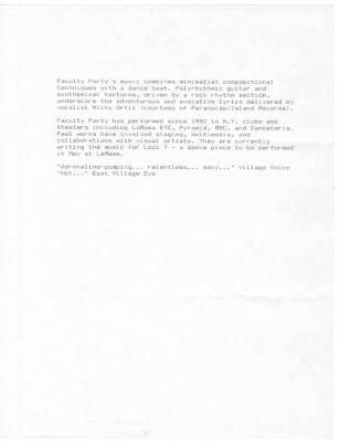 """Document: """"Faculty Party"""" (1989)"""