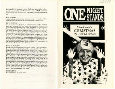 Program and program master: Alien Comic's Christmas in Outta Space