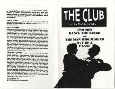 Program, program master, posters, postcard: Two Men Dance the Tango and The Man Who Jumped Out of a Plane