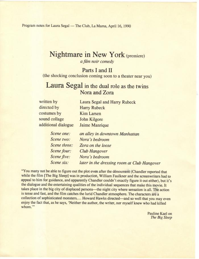 Press Notes: Nightmare in New York