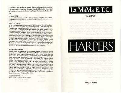 Program and program master: An Evening With Harper's (1990)