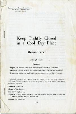 """Script: """"Keep Tightly Closed in a Cool Dry Place"""" (1966)"""