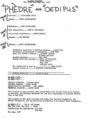 """Program for """"Phedre and Oedipus"""" (1977)"""