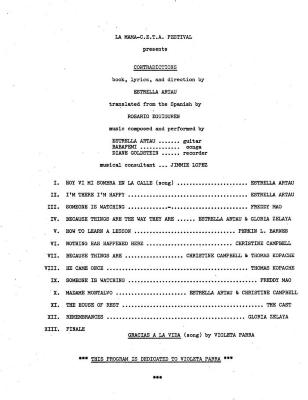"""Program for """"Contradictions"""" (1978)"""
