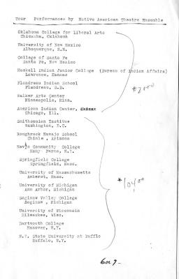 Schedules and Itineraries: American Indian Theatre Ensemble US Tour (1973)