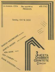 """Promotional Flyer: """"3rd CETA Chamber Concert"""" (1978)"""