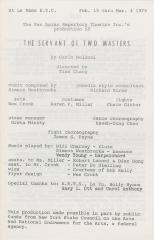 """Program: """"The Servant of Two Masters"""" (1979) (Front)"""