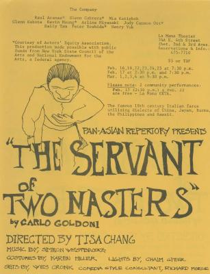 """Promotional Flyer: """"The Servant of Two Masters"""" (1979) (English)"""