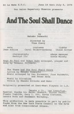 """Program for """"And The Soul Shall Dance"""" (1979a)"""