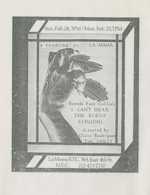 """Promotional Flyer: """"I Can't Hear the Birds Singing"""" (1980)"""