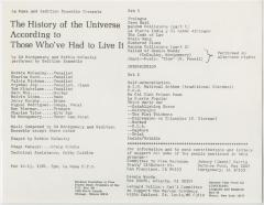 """Program: """"The History of the Universe According to Those Who've Had to Live It"""" (1981)"""
