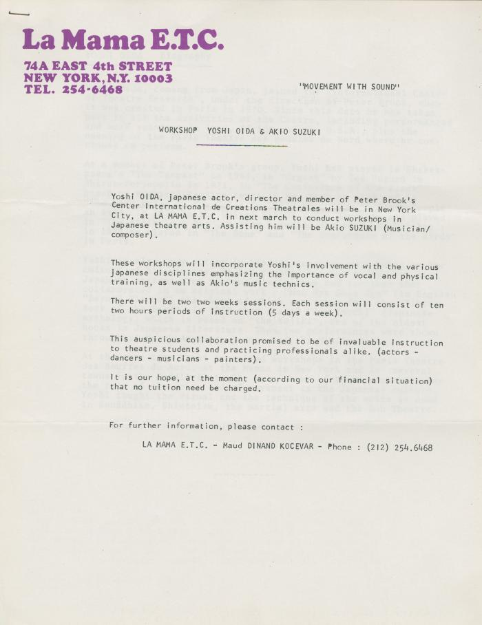 """Press Release for """"Movement With Sound"""" Workshop (1981) (1)"""