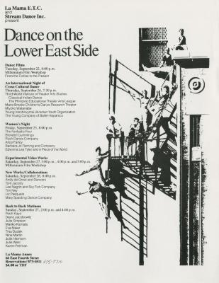 """Miscellaneous Materials: """"Dance on the Lower East Side"""" (1981)"""