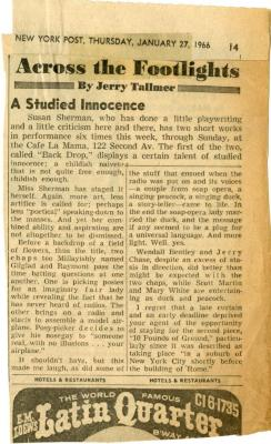 """Review of """"2 New Plays by Susan Sherman"""" (1966)"""