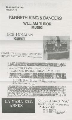 """Program and flyer for """"Kenneth King & Dancers/Co., with William Tudor and Bob Holman"""" (1982)"""
