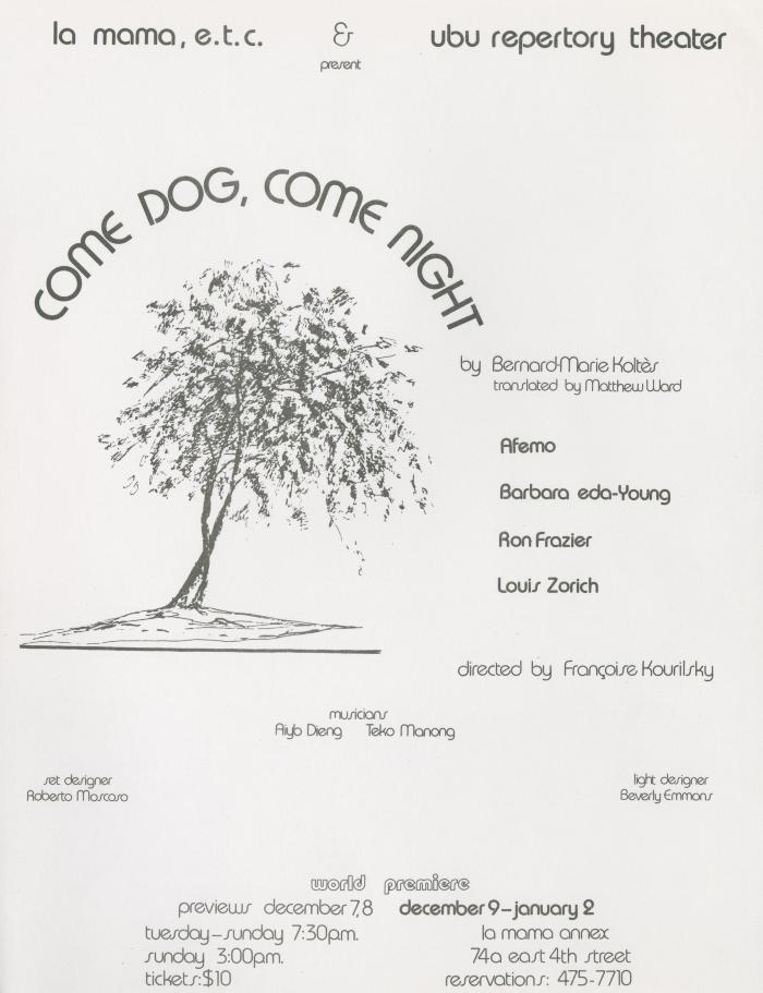 "Program and flyer for ""Come Dog, Come Night"" (1982)"