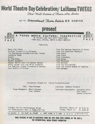 """Program for """"A Third World Cultural Perspective"""" (1983)"""