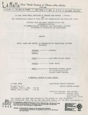 """Programs for """"Celebration of Traditional Cultures"""" (1983) (1)"""
