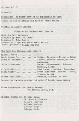 """Program for """"Diversions: Or Proof That It Is Impossible To Live"""" (1983)"""